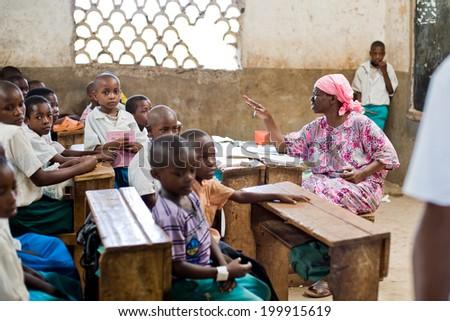Kenya. Mombasa. January 25, 2012 African students. School.  - stock photo