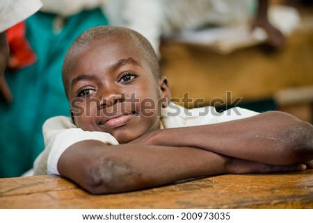 Kenya. Mombasa. January 25, 2012 African students. School.  - stock photo