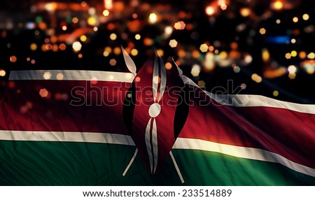 Kenya National Flag Light Night Bokeh Abstract Background - stock photo