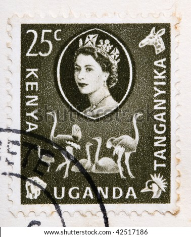 KENYA, UGANDA AND TANGANYIKA - CIRCA 1960: A stamp printed in East Africa from a first day cover of an animal and plant series  showing an image of a flock of ostriches, circa 1960.