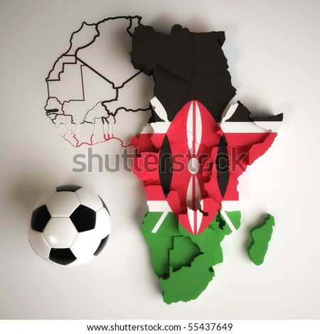 Kenyan flag on map of Africa with national borders