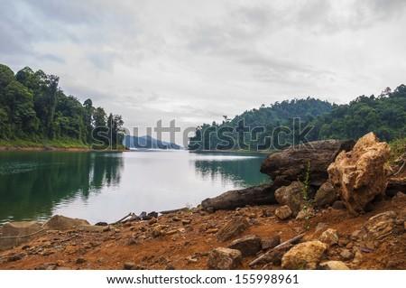 Kenyir lake in Terengganu, Malaysia. - stock photo