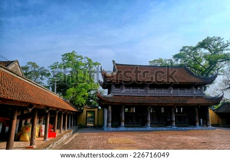 Keo Pagoda HanhThien an ancient temple in Nam Dinh, Vietnam. Preserved almost intact 400-year-old architecture. - stock photo