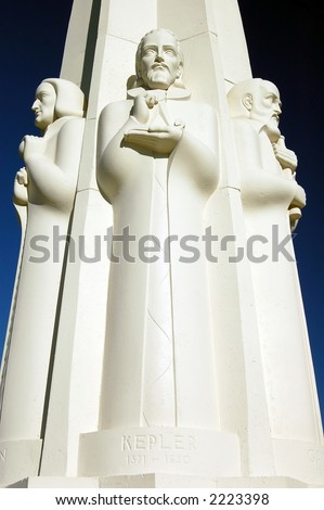 Kepler, Astronomer's Monument, Griffith Observatory, Los Angeles - stock photo