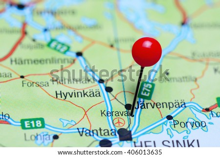 Kerava pinned on a map of Finland