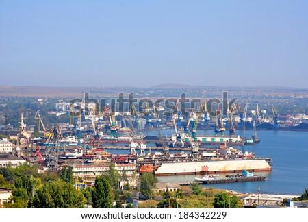 KERCH, CRIMEA REPUBLIC - 30 September 2012: Kerch sea trading port. Freight turnover of 2.5 million tons per year - stock photo