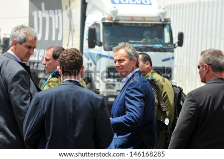 KEREM SHALOM, ISR - JUNE 22:Tony Blair on June 22 2010.He's a British Labour Party politician who served as the Prime Minister of the UK from 1997 to 2007 and the current Quartet's Special Envoy. - stock photo