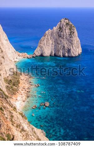 Keri Caves rocks cliffs and beach in Zakynthos Island, Greece - stock photo
