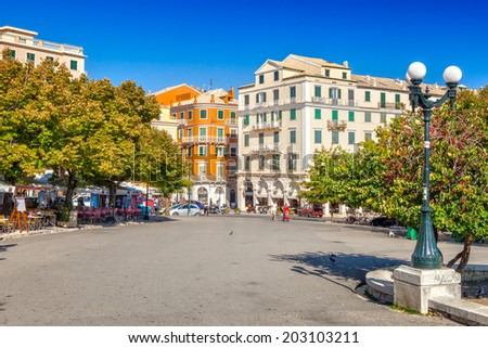 KERKYRA, CORFU, GREECE - SEPTEMPER 24 2013: View from Platia Leonida Vlachou park to Kapodistriou street. This street located near platia Enoseos at old city. - stock photo