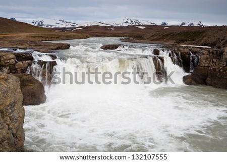 Kerlingafjoll waterfall - stock photo