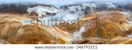 Kerlingarfjoll (The Ogress' Mountains), a volcanic mountain range situated in the highlands of Iceland. The red color of the earth is due to the volcanic rhyolite stone the mountains are composed of. - stock photo