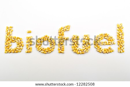 """Kernels of corn arranged into the word """"biofuel"""" - stock photo"""