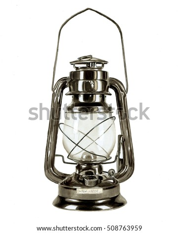 Kerosene lamp hand drawn with markers, scanned and isolated