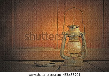 kerosene  lamp on wooden and wooden background, Filter burlap style