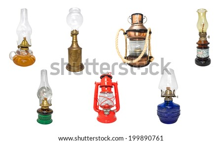 Kerosene lamps mosaic. - stock photo