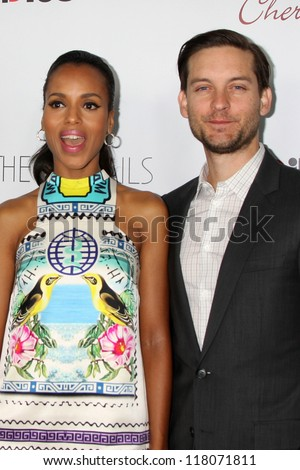 """Kerri Washington, Tobey Maguire at """"The Details"""" Los Angeles Premiere, Arclight, Hollywood, CA 10-29-12 - stock photo"""