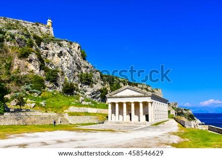 Kerykra old Phanteon. Important tourist attraction in Corfu, Greece. - stock photo