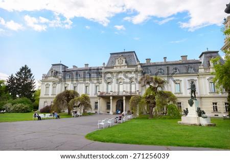 KESZTHELY, HUNGARY - APRIL 23, 2014: Festetics Palace, Zala county, Hungary.  Festetics Palace is one of the most popular landmark in Hungary - stock photo
