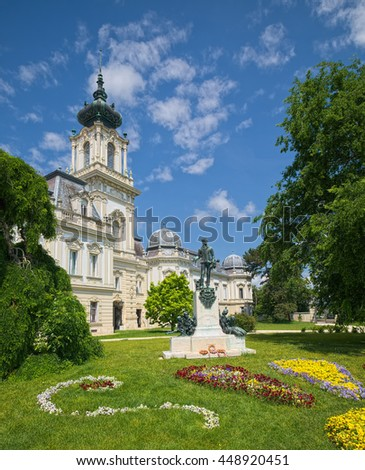 KESZTHELY, HUNGARY - JUNE 5, 2016: Partial view of Festetics Palace, located in Keszthely town, Hungary. It's Baroque-style building was constructed in period of 1745-1880.