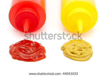 Ketchup and mustard bottles with soft shadow on a white background - stock photo