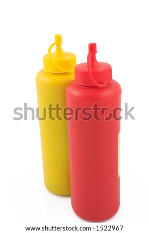 Ketchup and mustard for fast food - stock photo