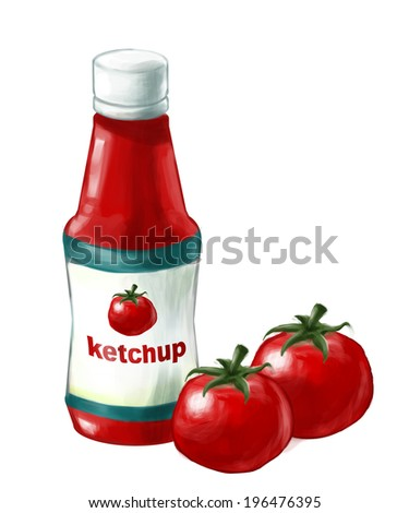 ketchup bottle and fresh tomato, illustrate