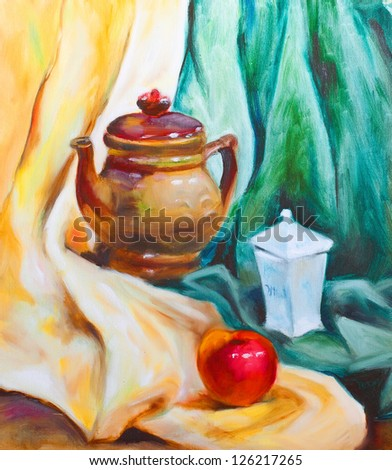kettle, a knop and a sugar-bowl on a green and yellow cloth still life painted on canvas with oil paints - stock photo