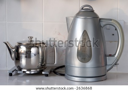 Kettle and Teapot - stock photo