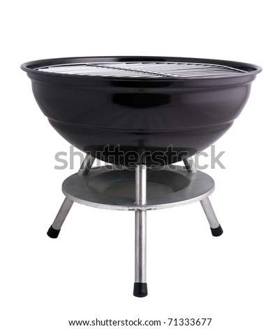 kettle barbecue grill isolated on white - stock photo