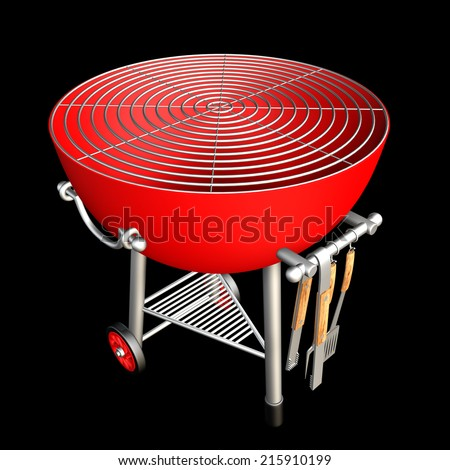 kettle barbecue grill, realistic. isolated on black background. 3d illustration