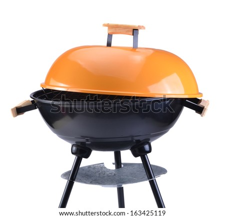 kettle barbecue grill with cover isolated on white  - stock photo