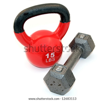 Kettle bell, and dumbbell - stock photo