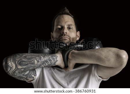 Kettle bell Work-out - stock photo