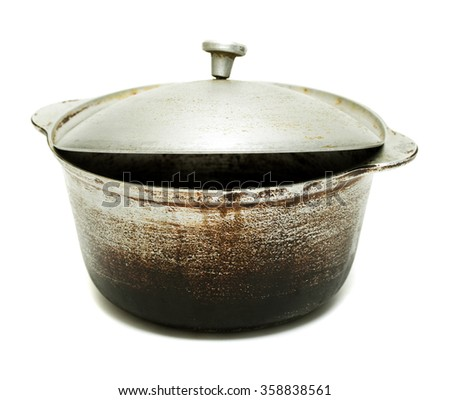 kettle, old black pot with lid isolated on white background