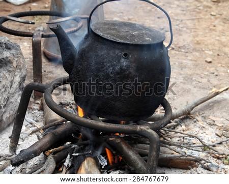 Large Metal Cauldron Over Fire Farm Stock Photo 59302906