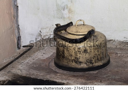 kettle on the white background - stock photo