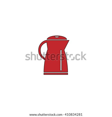 Kettle Simple red icon on white background. Flat pictogram
