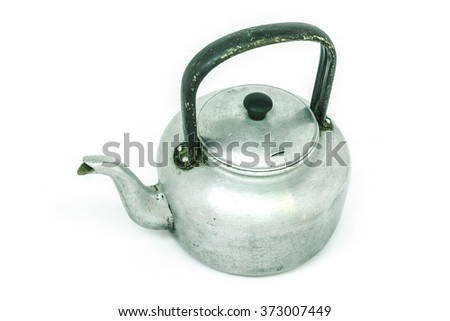 kettle tea on white background - stock photo