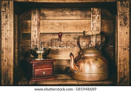 Kettle teapot retro vintage old, inside a wooden box, style window