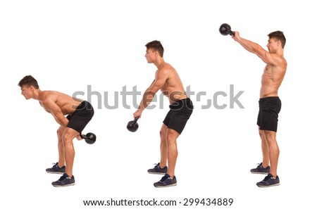 Kettlebell Exercise Step By Step. Muscular man in sport shorts and sneakers showing a kettlebell exercise step by step. Full length studio shot isolated on white. - stock photo