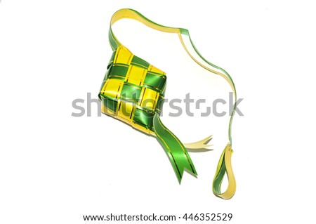 Ketupat on white background. Ketupat is the traditional food of Malaysia during the Hari Raya festival. It is made of palm leaves and a bit of rice included in it.(selective focus and soft focus)