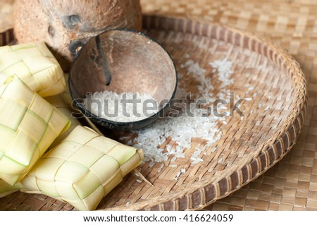 Ketupat or Dumpling Rice, a Malaysian or Indonesian food of day of celebration at end of fasting month, Ramadhan. copy space