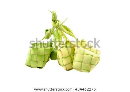 Ketupat or rice dumpling on white background. - stock photo