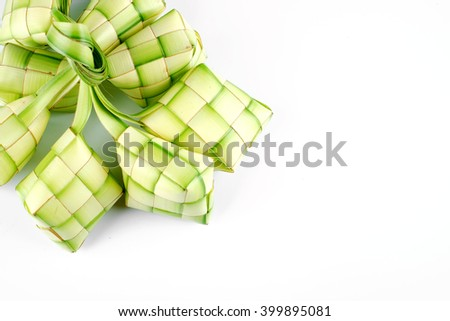 Ketupat (rice dumpling on white background) - stock photo