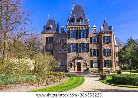 Keukenhof castles in Lisse, Holland - stock photo