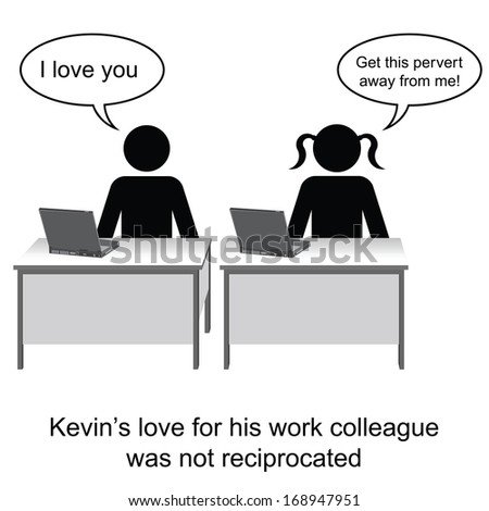 Kevin fell in love at work cartoon isolated on white background  - stock photo