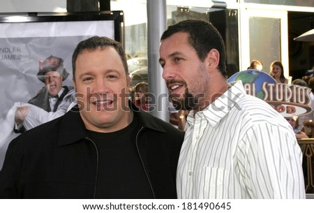 Kevin James, Adam Sandler at I NOW PRONOUNCE YOU CHUCK AND LARRY Premiere, Gibson Amphitheatre and CityWalk Cinemas, Los Angeles, CA, July 12, 2007 - stock photo
