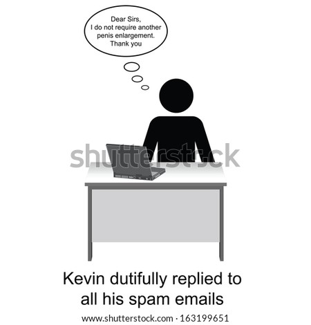 Kevin replied to his spam emails cartoon isolated on white background  - stock photo