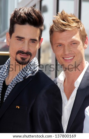 "Kevin Richardson and Nick Carter at the ""Backstreet Boys"" Star on the Walk of Fame, Hollywood, CA 04-22-13"