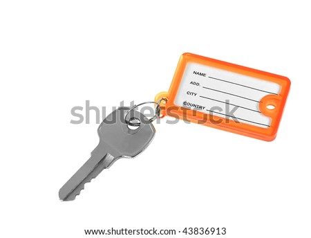 Key and blank tag - isolated on white background - stock photo